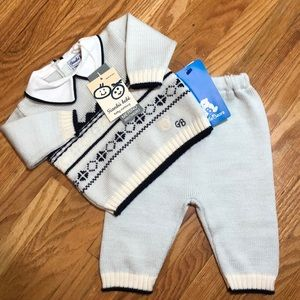 NWT Baby Wool Sweater + Pants Set Made in Italy